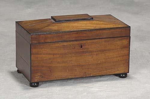 012: Georgian rosewood tea caddy first quarter 19th cen