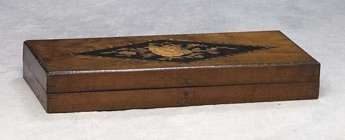 016: English walnut and marquetry trinket box late 19th