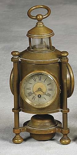 017: Bronze lantern-form clock and thermometer retailed