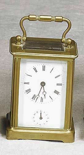 020: French brass and glass carriage clock early 20th c