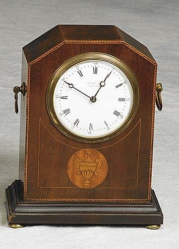 021: American inlaid mahogany miniature clock early 20t