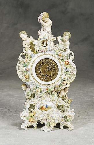 022: Dresden porcelain mantel clock, Carl Thieme  late