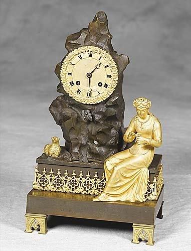 023: French parcel gilt-bronze figural mantel clock mid