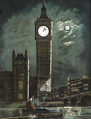 024: English novelty clock early 20th century framed pa