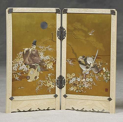 184: Japanese shibayama and ivory-mounted table screen