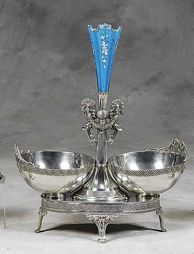 451: Silverplate and art glass epergne circa 1900 flute