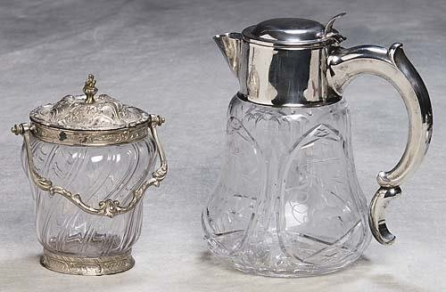 453: Crystal and silverplate pitcher and jar pitcher wi