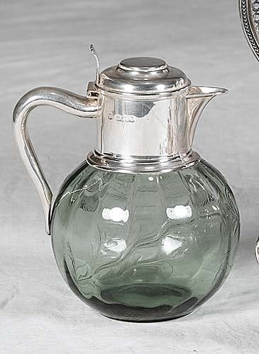 457: Victorian sterling-mounted etched glass pitcher Lo