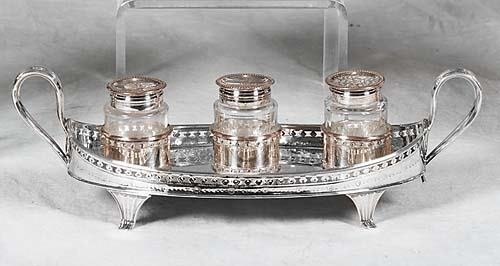 458: English Sheffield plate inkstand 19th century oval