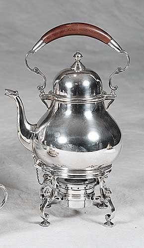 460: Gorham sterling kettle on stand Queen Anne style k
