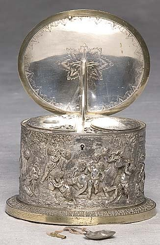 461: Continental silverplate tea caddy late 19th/20th c