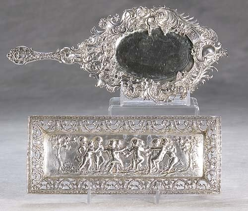 466: German silver dresser tray and looking glass late