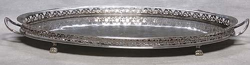 467: English silverplate footed serving tray late 19th
