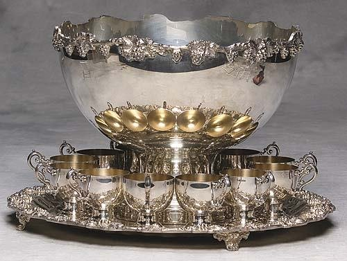 469: American silverplate punch set applied grapevine d