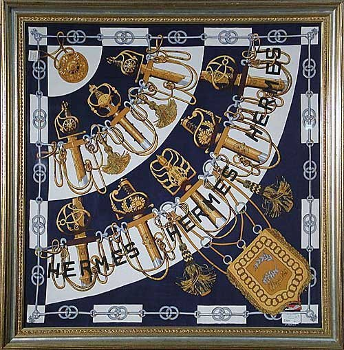 1: Hermes silk scarf in gilt and painted fram