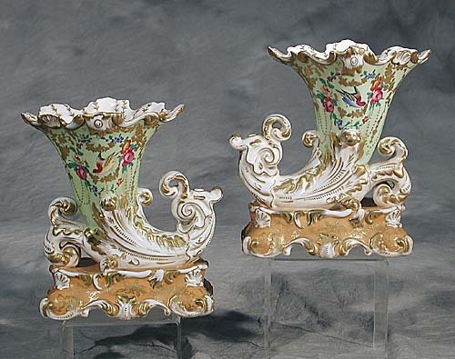 8: Pair of Meissen type porcelain cornucopia