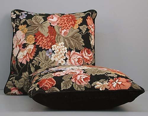 23: Pair of needlework pillows