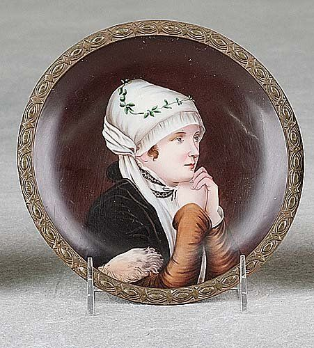 German painted plaque round plate form pai