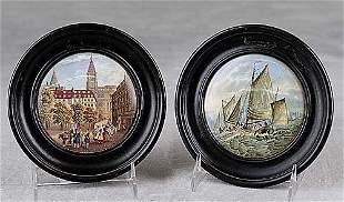 Two Staffordshire pot covers 19th century