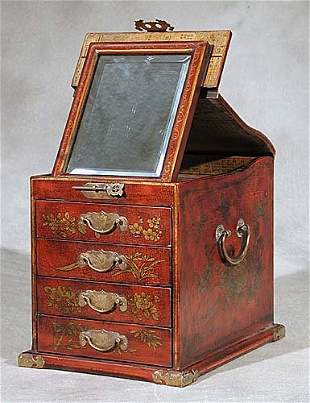 Chinese red lacquer storage box sloping li