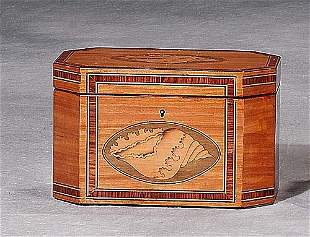 Georgian style inlaid satinwood tea caddy