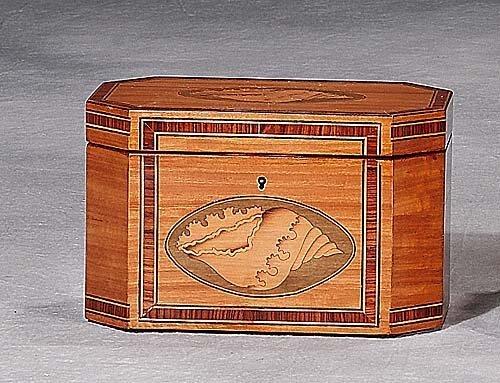 7: Georgian style inlaid satinwood tea caddy