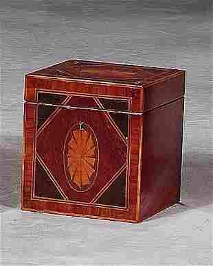 George III style inlaid mahogany tea caddy