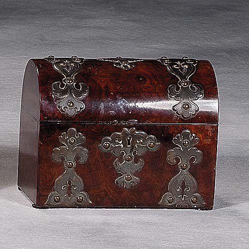 English walnut tea caddy with brass mount