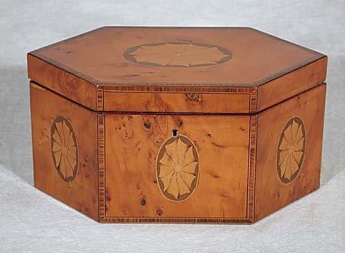 16: Regency style inlaid satinwood tea caddy