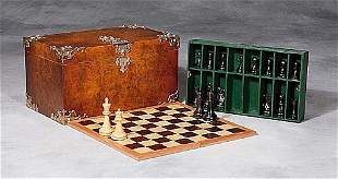 English silver-mounted walnut game box re