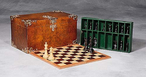 17: English silver-mounted walnut game box re