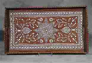 Anglo-Indian inlaid hardwood serving tray