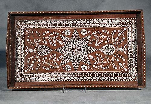 18: Anglo-Indian inlaid hardwood serving tray