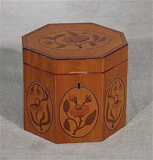 Regency style inlaid satinwood tea caddy