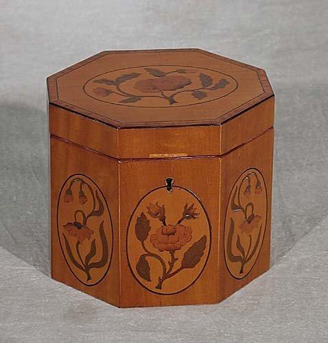 19: Regency style inlaid satinwood tea caddy