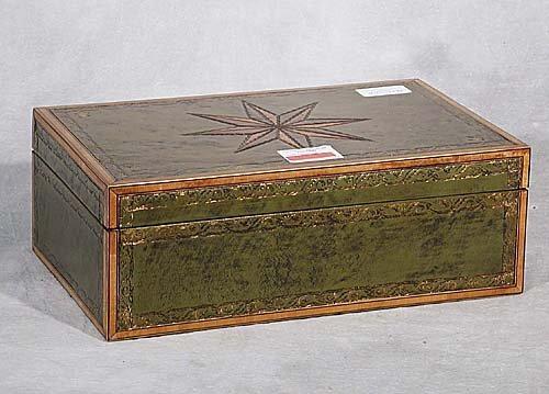 21: Inlaid leather writing box rectangular bo
