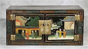 Oriental black lacquer overhead cupboard