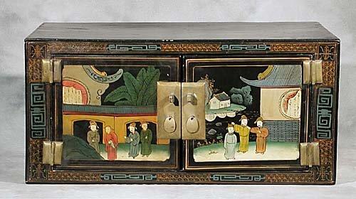 22: Oriental black lacquer overhead cupboard