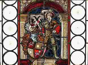 Victorian stained glass panel 19th centu
