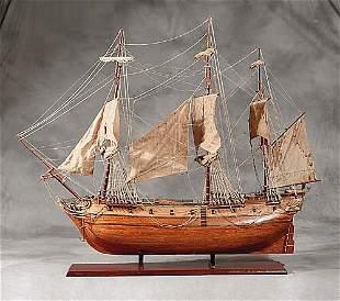 Wood model of three-masted sailing vessel