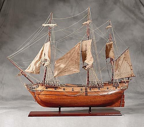 24: Wood model of three-masted sailing vessel