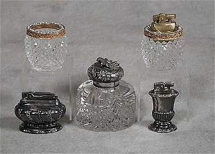 Inkwell and lighters, five pieces silverp