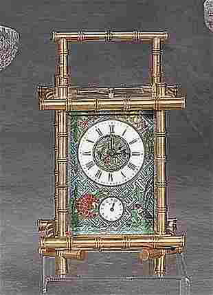 Cloisonne and brass carriage clock bamboo
