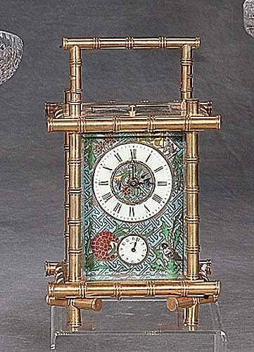 28: Cloisonne and brass carriage clock bamboo