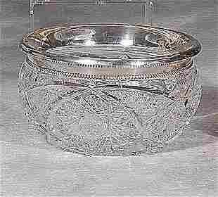 Silver-mounted cut-glass bowl early 20th