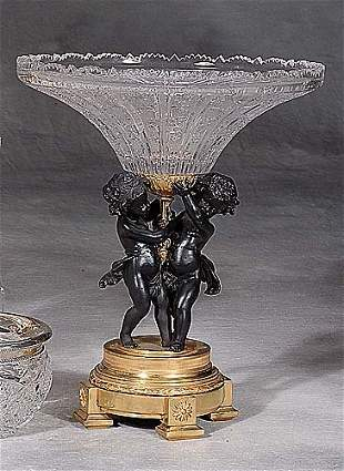 French style parcel-gilt bronze and cryst