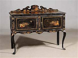 Queen Anne style chinoiserie lacquered se
