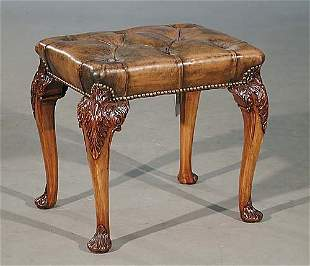 Queen Anne style carved walnut stool ear