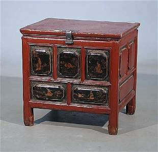 Chinese red lacquer storage chest last q