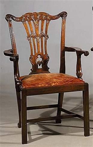 George III style mahogany armchairs, set
